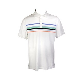 Club Room White Short-Sleeve Cascade Stripe Polo Shirt M