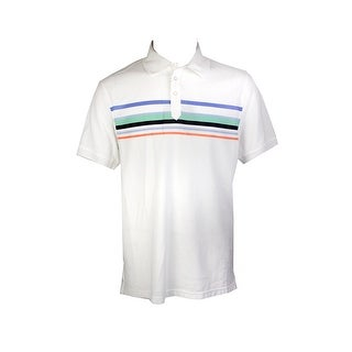 Club Room White Short-Sleeve Cascade Stripe Polo Shirt S