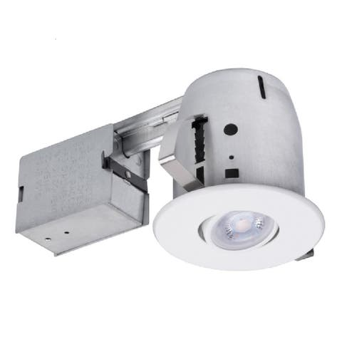 """Globe 91196 LED Recessed Directional Downlight Kit, Frost, White, 4"""" W"""