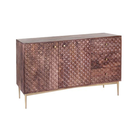 Signet 56-inch Mango Wood & Iron Hand Carved Sideboard with Diamond Motif