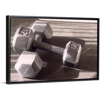"""Link to """"Still life of dumbells, free weight"""" Black Float Frame Canvas Art Similar Items in Fitness & Exercise Equipment"""