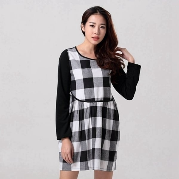Shop autumn plus size o-neck black white plaid long-sleeve linen one ... ed6257e12111