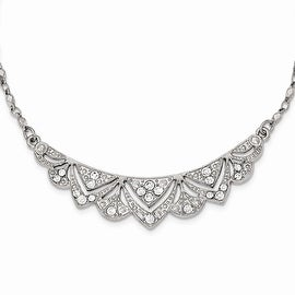 Silvertone Downton Abbey Crystal Necklace - 16in