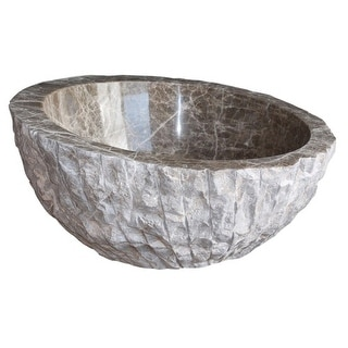 Angled Chiseled Natural Stone Vessel Sink - Light Emperador Marble