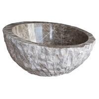 Angled Chiseled Natural Stone Vessel Sink - Light Emperador Marble