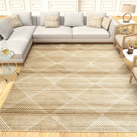 Cazza Mantoni Geometric Distressed Modern Area Rug