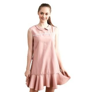 Womens Light Pink Ruffle Accent Layer Peter Pan Collar Sleeveless Dress