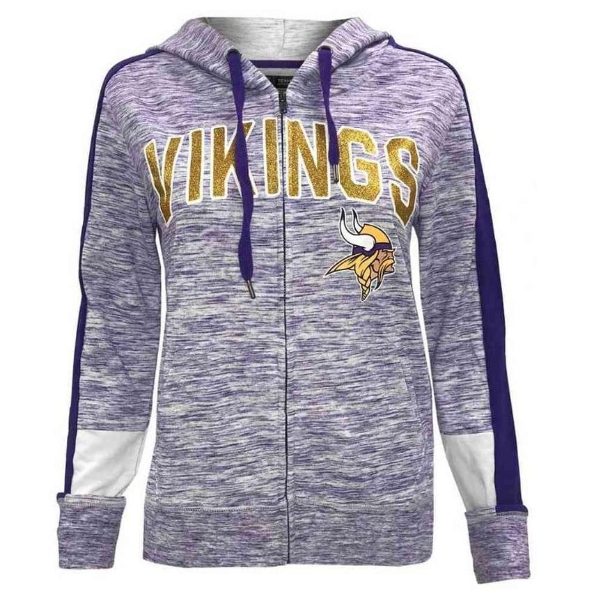 official photos c74b1 3bacc New Era Womens NFL Minnesota Vikings Full Zip Hoodie Sweatshirt Glitter  5572L