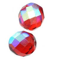 Czech Fire Polished Glass Beads 10mm Round Siam Ruby AB (12)