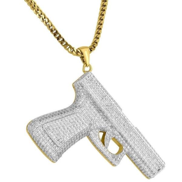 Custom Gun Pistol Pendant 18K Gold Plate Free Steel Franco Chain Fullu Iced Out Charm