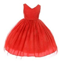 Chic Baby Girls Red Glitter Tulle Overlay Special Occasion Dress