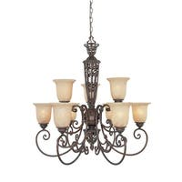 Designers Fountain 97589 Nine Light Up Lighting Two Tier Chandelier from the Amherst Collection - Burnt Umber - n/a
