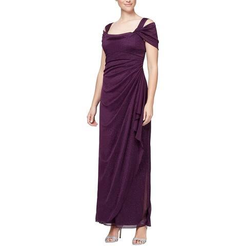 Alex Evenings Women's Long Cold Shoulder Dress, Plum Glitter, 12P
