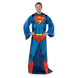 Superman Being Action Superman Adult 48x71 Fleece Fomy Throw with Sleeves