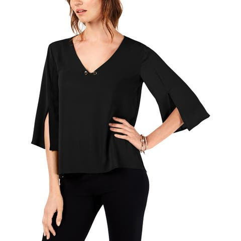 NY Collection Womens Blouse V-Neck Dressy