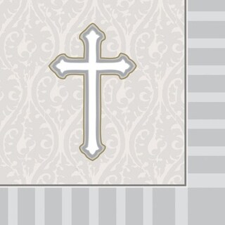 """Club Pack of 192 Silver and White Devotion 3-Ply Beverage Party Napkins 5"""""""