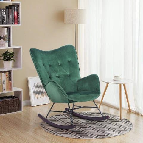 Carson Carrington Velvet Upholostered Rocker Accent Chair