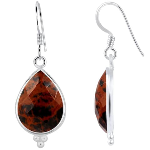 Mahogany Obsidian Sterling Silver Pear Dangle Earrings By Orchid Jewelry