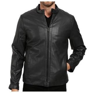 Calvin Klein NEW Black Mens Size Large L Faux-Leather Moto Jacket