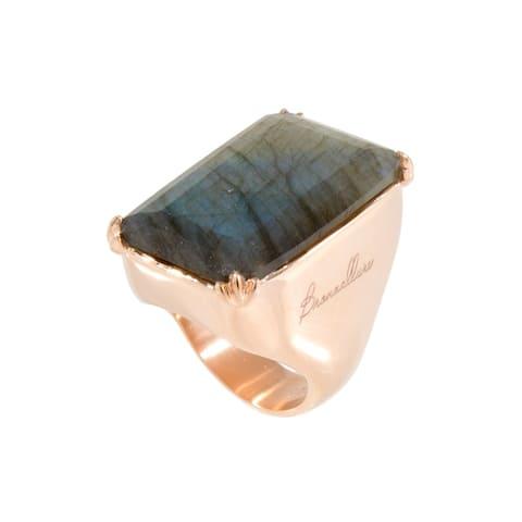 Forever Last 18 kt Gold Plated Women's Large Rectangular Labrodite Ring