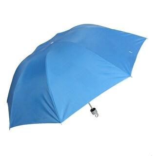 Unique Bargains Outdoor Handy Light Blue Canopy 3 Sections Retractable Sun Rain Umbrella