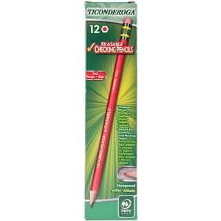 Ticonderoga Presharpened Erasable Checking Pencils 12/Pkg-Red