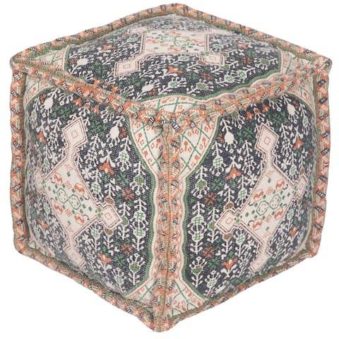"Handmade Indo Cotton Pouf (India) - 16"" x 16"" x 16"""