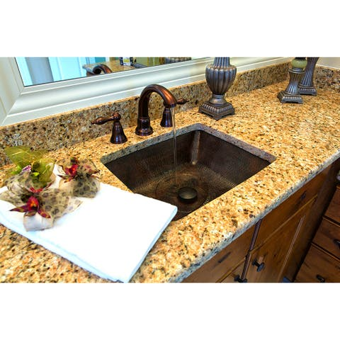 Premier Copper Products LREC19DB 19-inch Rectangle Under Counter Hammered Copper Bathroom Sink