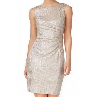 Calvin Klein Gold Womens Size 2 Ruched Metallic Sheath Dress