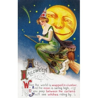 Halloween Witch Broom Full Moon - Vintage Holiday (100% Cotton Towel Absorbent)