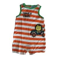 Carter's Baby Boys White Orange Striped Jungle Trail Sleeveless Bodysuit 0-9M