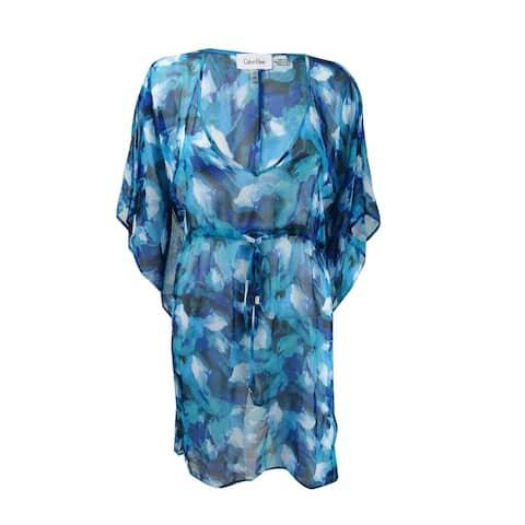 Calvin Klein Women's Handkerchief-Hem Cover-Up Tunic (Cyan Multi, S/M) - Cyan Multi - S/M