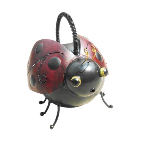 Offex Handmade Iron Multi Color Ladybug Watering Can