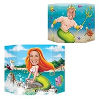 """Pack of 6 Mermaid Themed Double Sided Stand Up Cutout Photo Prop Decorations 37"""" - Blue"""
