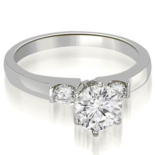 0.80 cttw. 14K White Gold Round Cut Diamond Engagement Ring