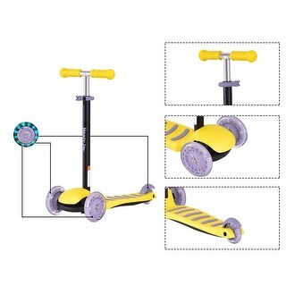 Goplus 3 LED Light Up PU Wheels Kids Kick Scooter Adjust Handle Bar Christmas Gift - Yellow