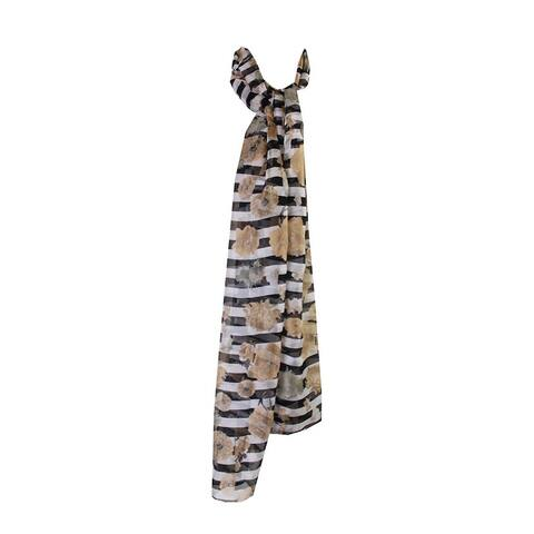 Cejon Black Beige Striped Flora Wrap OS