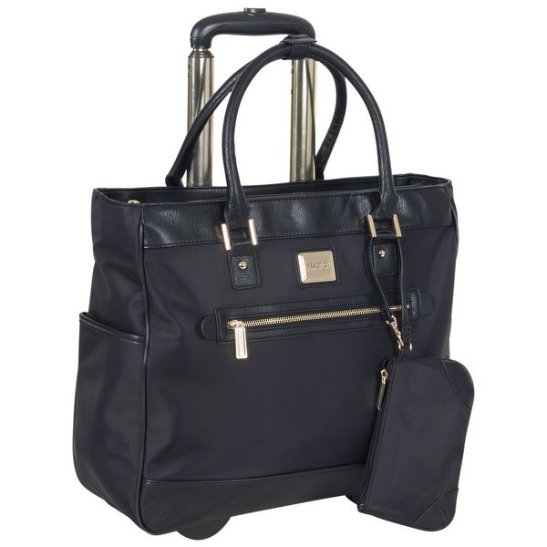 Kenneth Cole Reaction Nylon Wheeled 17-inch Laptop Rolling Business Tote / Carry-On Bag With Anti-Theft RFID. Opens flyout.