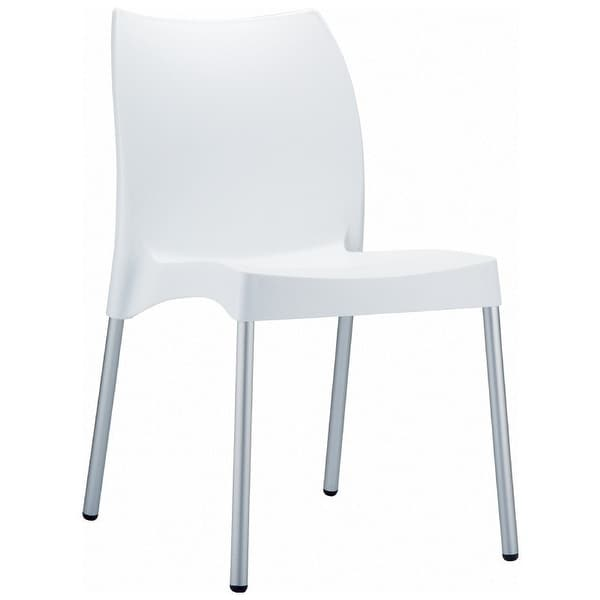 """Vita Resin Outdoor Dining Chair - Set of 2 (White) (31.5""""H x 17.3""""W x 21""""D) - White"""