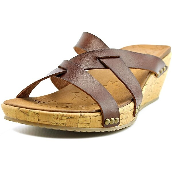 Skechers Beverlee Cactus Flower Women Open Toe Leather Brown Slides Sandal