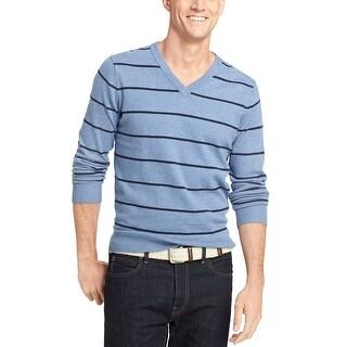 Izod Fine Gauge Striped V-Neck Sweater Colony Blue Heather XX-Large