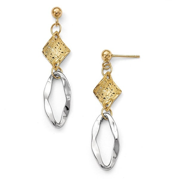 Italian 14k Two-Tone Gold Fancy Earrings