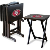 Official Licensed San Fran 49ers NFL Football TV Snack Trays with Storage Racks (Set of 4)