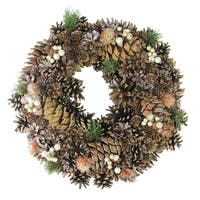 "15"" Autumn Foliage Pine Cone Artificial Thanksgiving Wreath - Unlit"