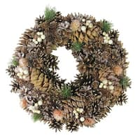 "15"" Copper Foliage, Pine Cone and Berry Artificial Christmas Wreath - Unlit - brown"