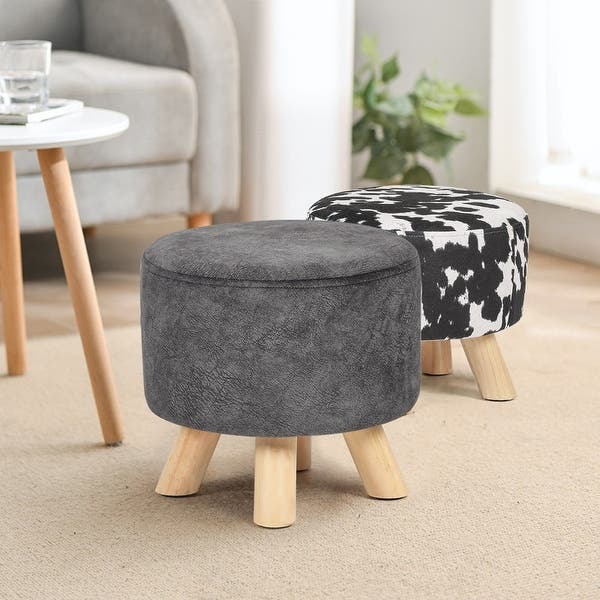 Adeco Ottoman Foot Rest Stool Fabric Padded Seat Cute Pouf Overstock 31872717