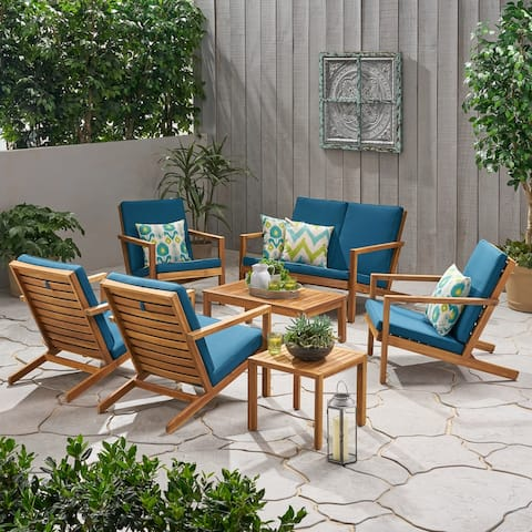 Leah Outdoor 6 Seater Acacia Wood Extended Chat Set by Christopher Knight Home
