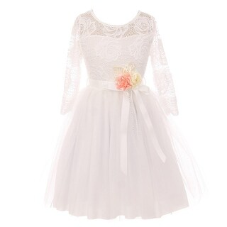 Girls Off-White Floral Lace Long Sleeve Mesh Flower Girl Dress