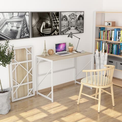 Teraves Folding Desk Small Computer Desk Study Corner Desk Writing Table for Home Office