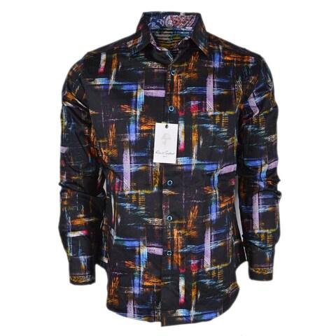 Robert Graham BARRIGONA Brushstroke Plaid Paisley Print Classic Fit Shirt